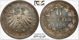 1866 Ms65 Alemán Estados Frankfurt de Plata 6 Kreuzer Moneda UNC Proofli... - $128.69