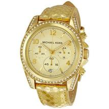 Michael Kors Women's Watch Ladies Golden Steel Leather Chronograph MK5283 - $190.00