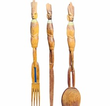 """African kitchen wall decor spoon fork knife 16 inch 16"""" wood carving tri... - $48.15"""