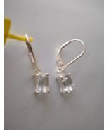 DIAMOND WHITE TOPAZ OCTAGON SOLITAIRE LEVER BACK EARRINGS, STERLING, 2.4... - $39.99
