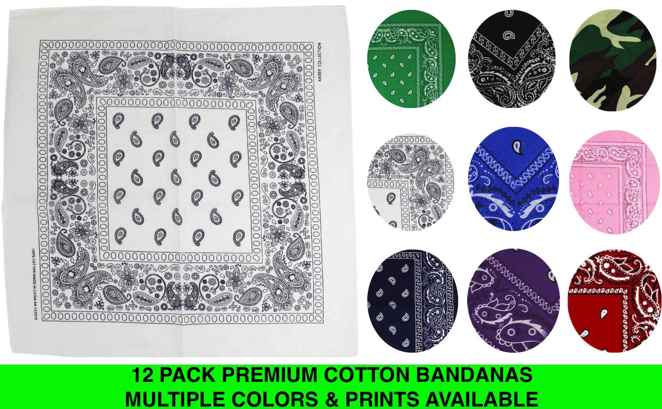 """12 Pack Premium Cotton Head Wrap Scarf Bandana Multiple Colors 22"""" X 22"""""""