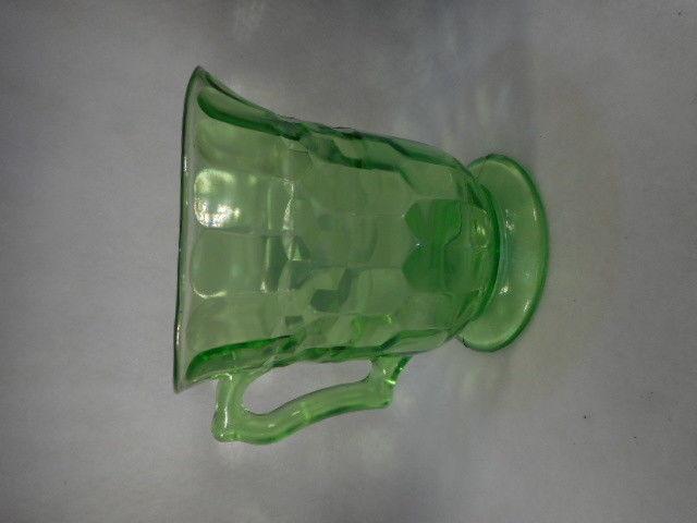 Vintage Anchor Hocking Green Depression Glass Water Pitcher
