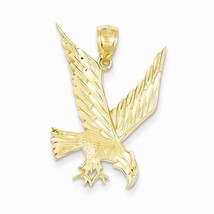 14K YELLOW GOLD  DIAMOND CUT EAGLE LANDING  CHARM /  PENDANT -  1.6 GRAMS - $133.88