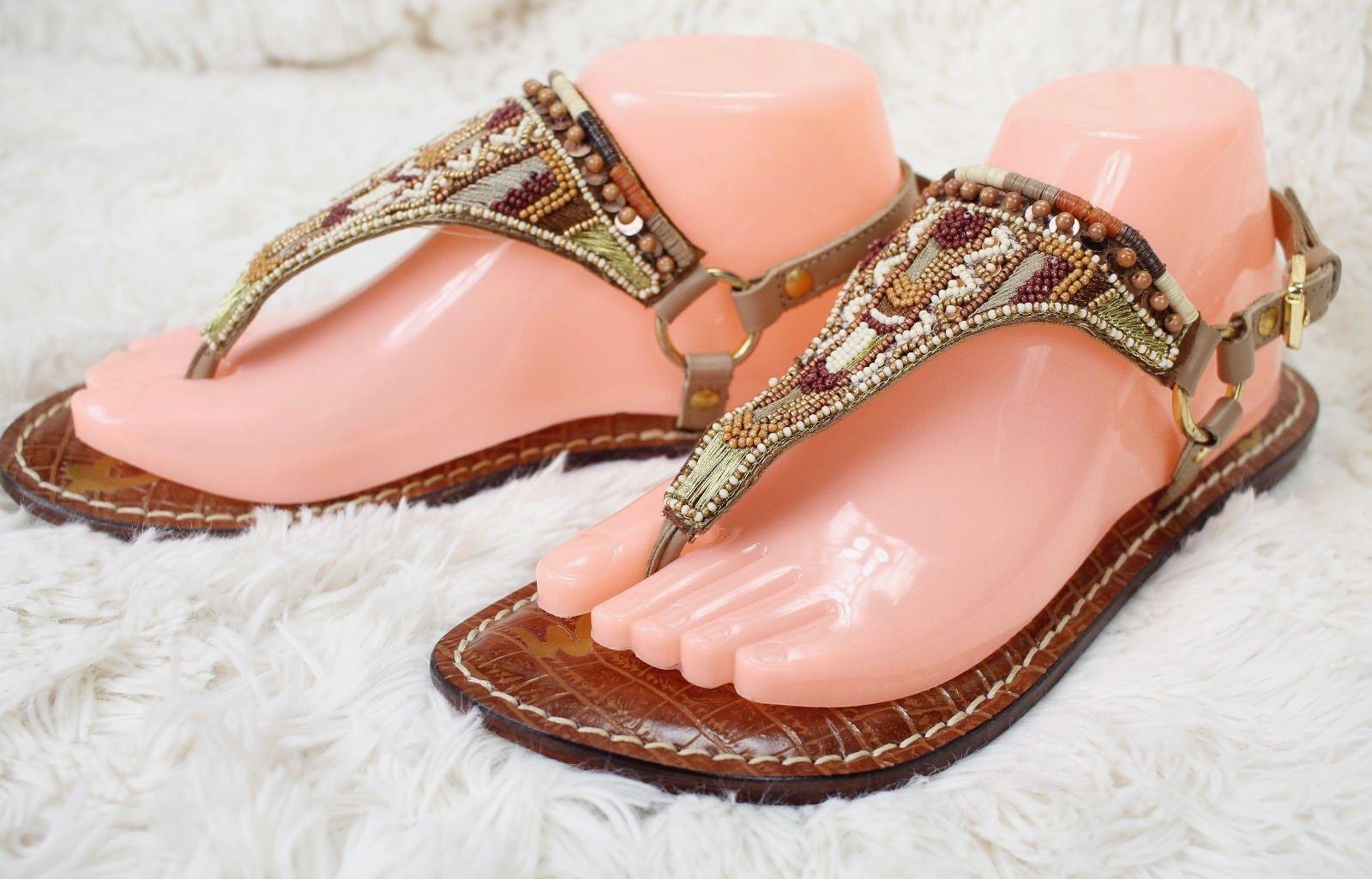 ed09c098a696 57. 57. Previous. SAM EDELMAN Metallic Beaded Buckle Thong Sandals Flip  Flops Women s Size 8 Brown