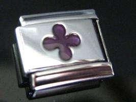 Fleur De Lis Purple  Italian Charm Modular link  fits Classic Bracelet 9mm size - $4.50