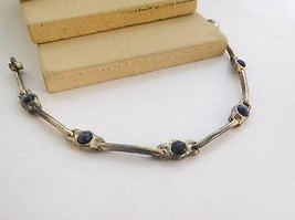 Retro Vintage Silver Tone Midnight Blue Cat's Eye Industrial Bracelet M1 - $13.59
