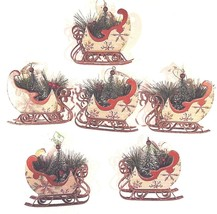 Christmas Ornament Sleigh Filled with Pine Boughs Tree Holly (6 Pack) - $19.77
