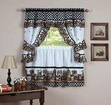 naturally home Mason Jars Kitchen Curtain Cottage Set, Tiers and Ruffled Swag, 2 - $32.52+