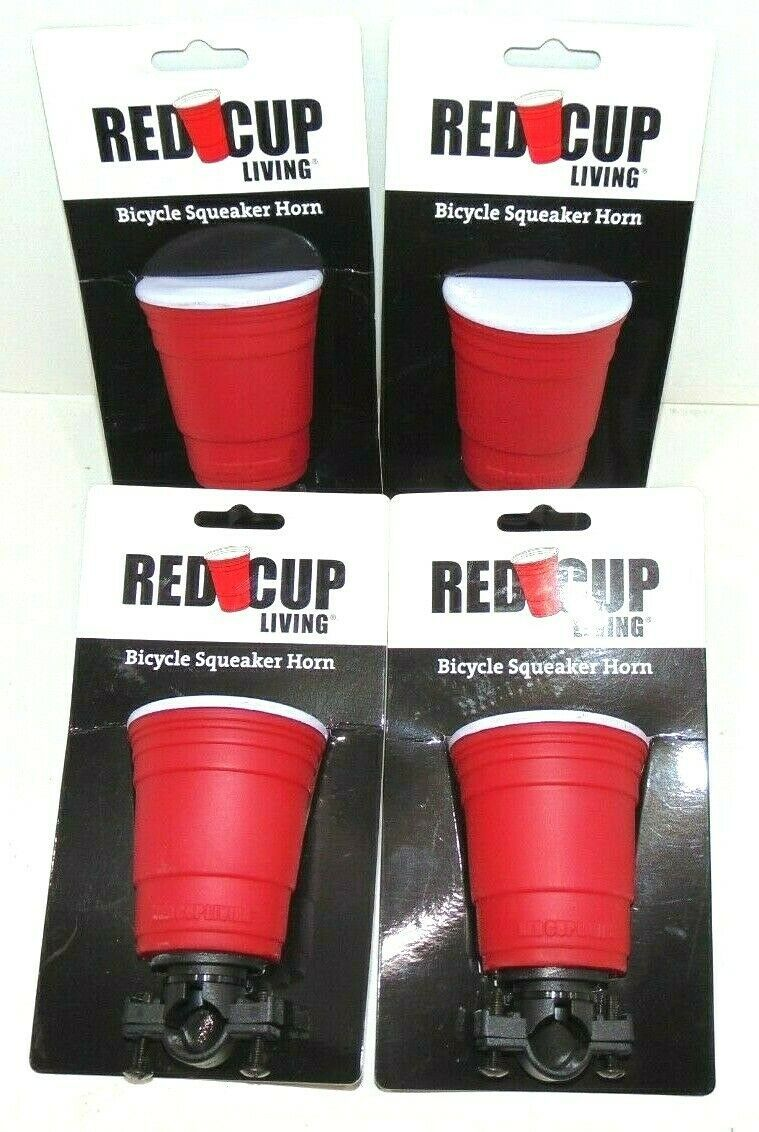 Primary image for ( LOT OF 4) Red Cup Living Bicycle Squeaker Horns Brand New