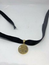 Vintage Golden Stainless Steel Hand Of Fatima Or God Amulet Pendant Neck... - $29.70