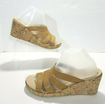 Crocs A-Leigh Cork Wedge Strappy Leather Slide Sandals Womens 9 Tan Brow... - $28.04