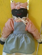 "Primitive Folk Art Hand Made African American Rag Cloth Doll Woman 17"" - $20.48"