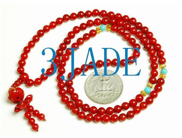 Tibetan 108 Red Coral Meditation Prayer Beads Mala