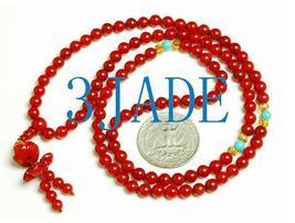 Tibetan 108 Red Coral Meditation Prayer Beads Mala image 1