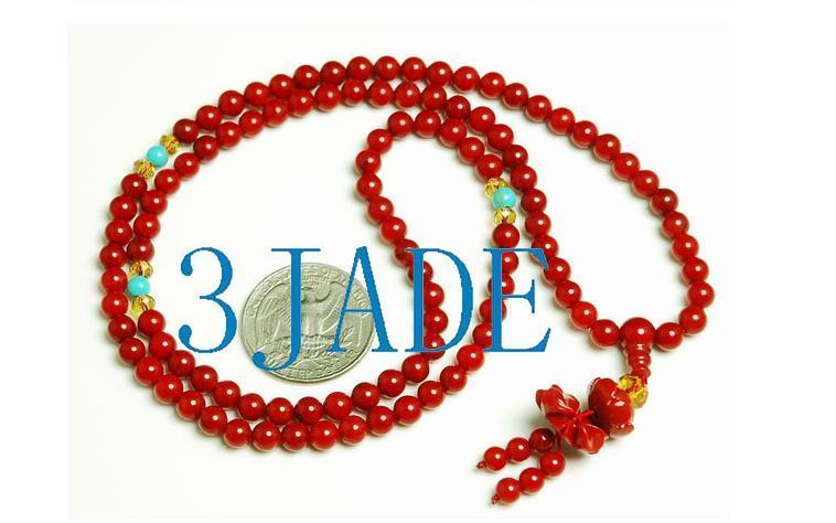 Tibetan 108 Red Coral Meditation Prayer Beads Mala image 4