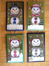 Hand Crafted Snowman Electric Double Outlet Wall Plate Cover Ornaments x4 image 1