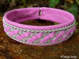 Tennarmband, FAFNIR Sami bracelet, custom handmade in pink lambskin and ... - $82.00