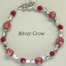 Faceted Red Lampwork Floral Deep Red Crystal Bright Silver Bracelet - $16.99