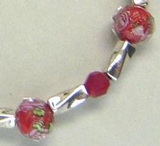 Faceted Red Lampwork Floral Deep Red Crystal Bright Silver Bracelet