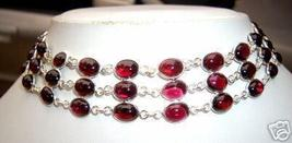 CHOKER 51 GARNET STERLING SILVER NECKLACE 18 INCHES - $89.00