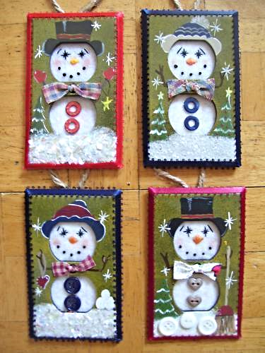 Hand Crafted Snowman Electric Double Outlet Wall Plate Cover Ornaments x4