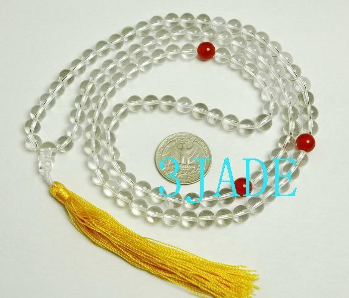 "30"" NATURAL Crystal/Quartz Meditation Prayer Beads Mala"