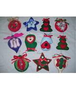 Handmade Hand-Stitched Decorative Felt Christmas Tree Ornaments  - $20.00