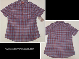 Dickies Women Plaid Shirt Button Down Red & Blue Many Sizes - $8.99