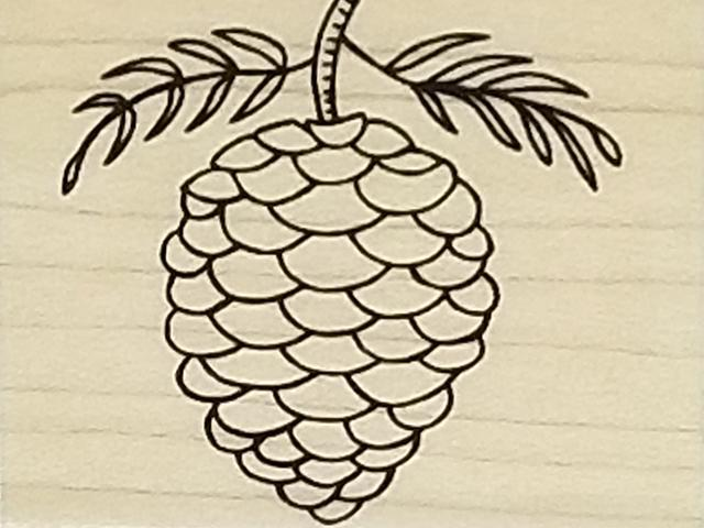 A Muse Artstamps Elegant Pinecone Rubber Stamp