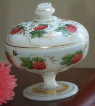 ANTIQUE ? SHABBY HAND PAINTED BERRY VINE GOLD MILK GLASS COVERED COMPOTE... - $59.99