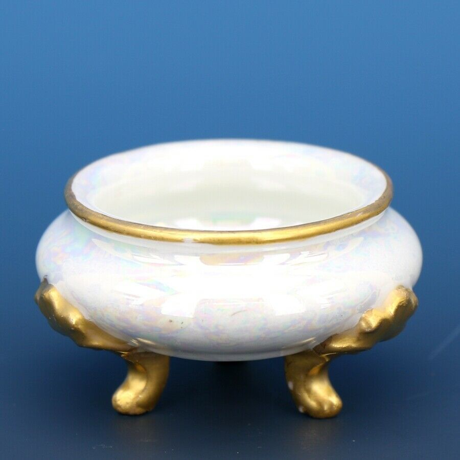 Antique Open Salt Dip Cellar Heavy Gold Tri Foot Mother of Pearl Bavarian China