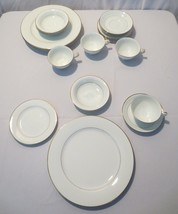 "Vtg Noritake China 5930 ""DAWN"" 24 pc, 5 piece service for 4 white gold trim - $150.00"