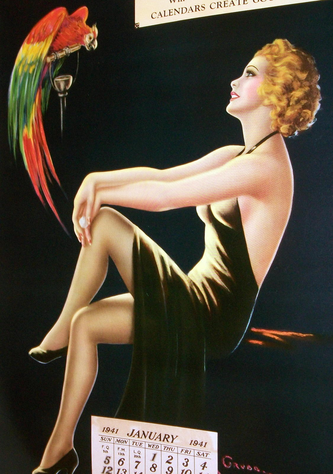 Barclay Grubben Pin Up Gal,Perched Parrot Lrg Vintage 1938 Unused Poster Print