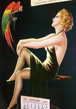 Barclay Grubben Pin Up Gal,Perched Parrot Lrg Vintage 1938 Unused Poster Print image 1