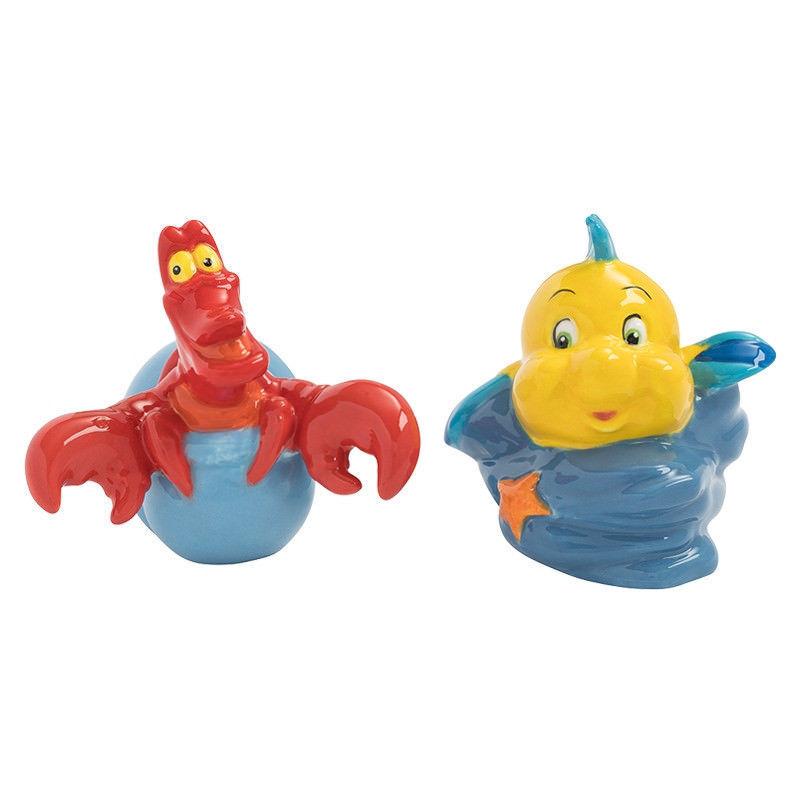 Walt Disney The Little Mermaid Flounder & Sebastian Salt & Pepper Set NEW BOXED