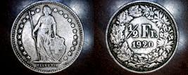 1920-B Swiss Half Franc World Silver Coin - Switzerland - $17.99