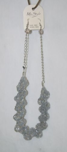 My Style Gray 2 Strand Beaded Braid Necklace Single Bead Earings Set