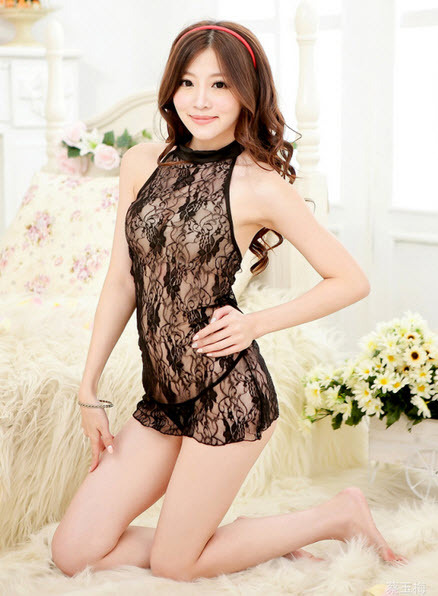 9080 Sexy mysterious floral lace vest dress,g-string, free size, fit to s/m/l, b image 5