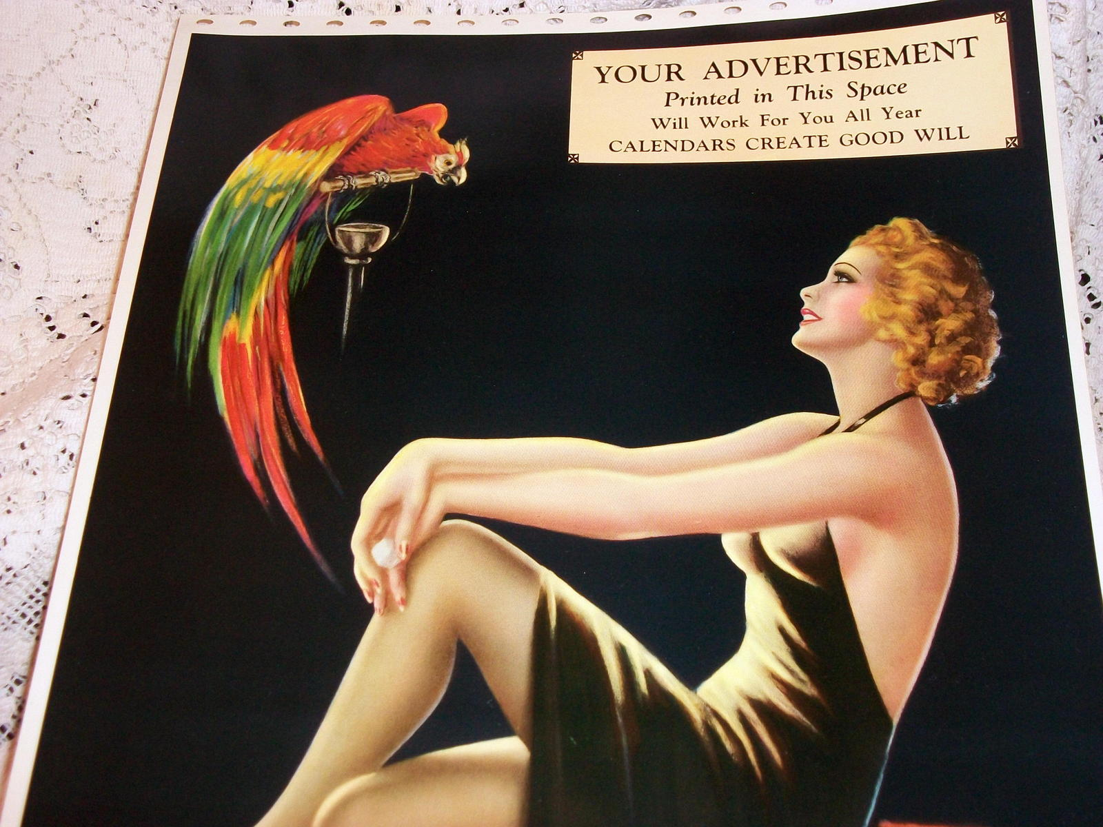 Barclay Grubben Pin Up Gal,Perched Parrot Lrg Vintage 1938 Unused Poster Print image 3