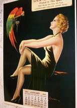 Barclay Grubben Pin Up Gal,Perched Parrot Lrg Vintage 1938 Unused Poster Print image 5