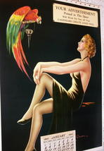Barclay Grubben Pin Up Gal,Perched Parrot Lrg Vintage 1938 Unused Poster Print image 6