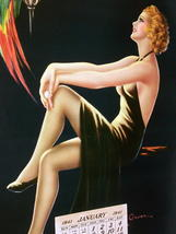 Barclay Grubben Pin Up Gal,Perched Parrot Lrg Vintage 1938 Unused Poster Print image 7