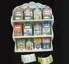 Vintage Avon Spice Jar and Rack Set of 12 Cottage Houses and Shops 1997 ... - $49.45