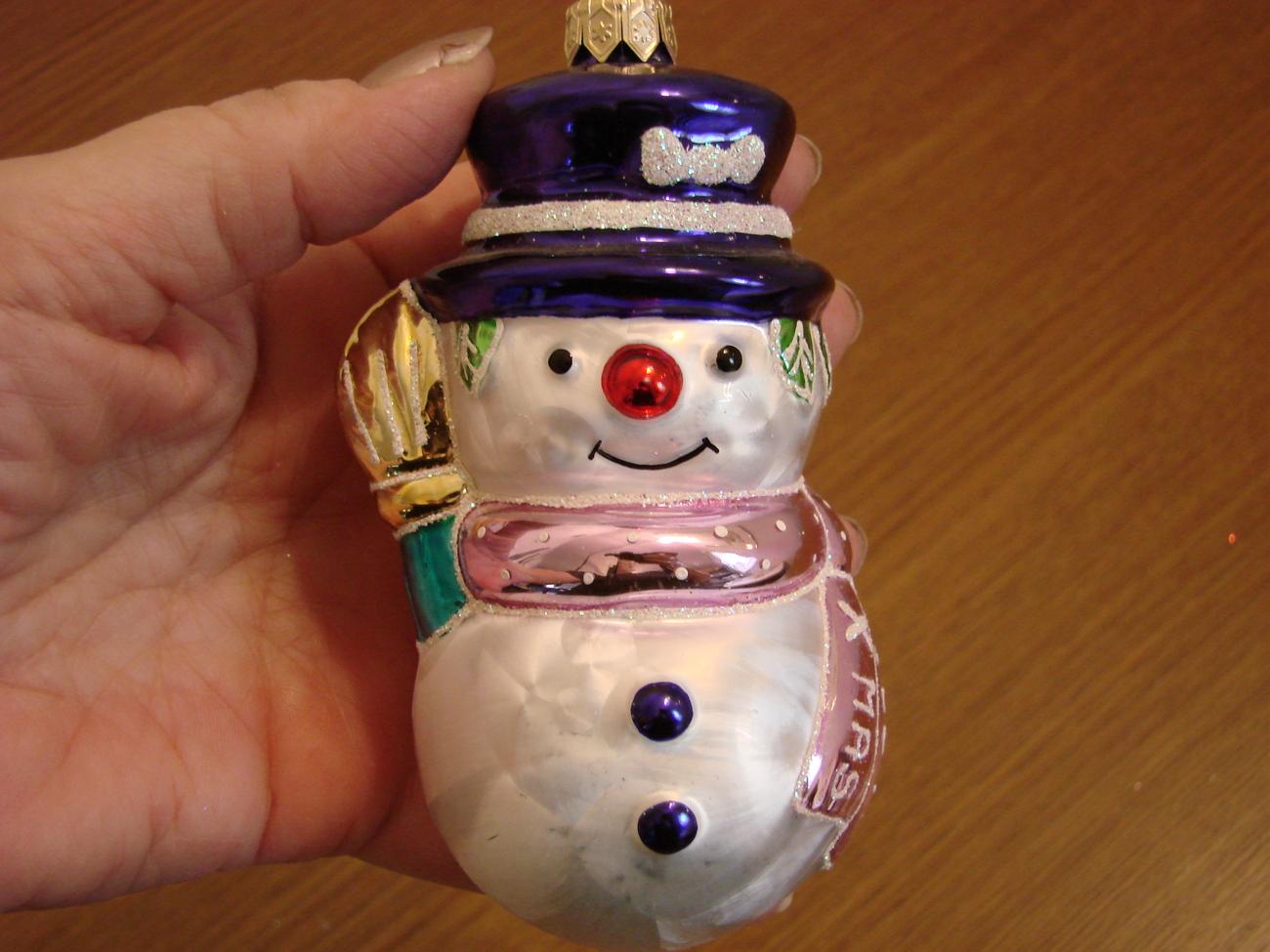 Blown Glass Xmas 2001 Snowman Ornament from Poland