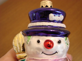 Blown Glass Xmas 2001 Snowman Ornament from Poland image 2