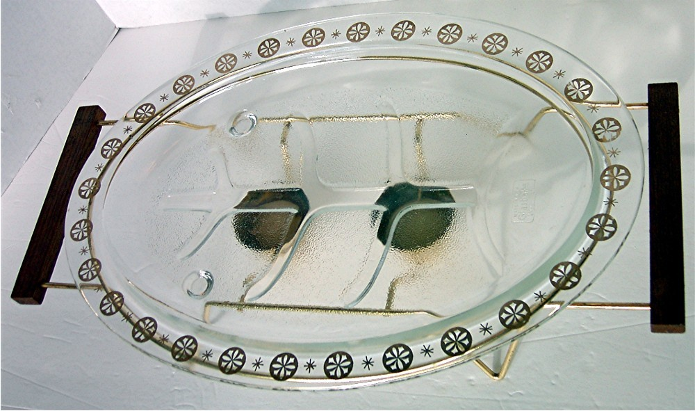Vintage warming Platter with Stand by Glasbake image 4