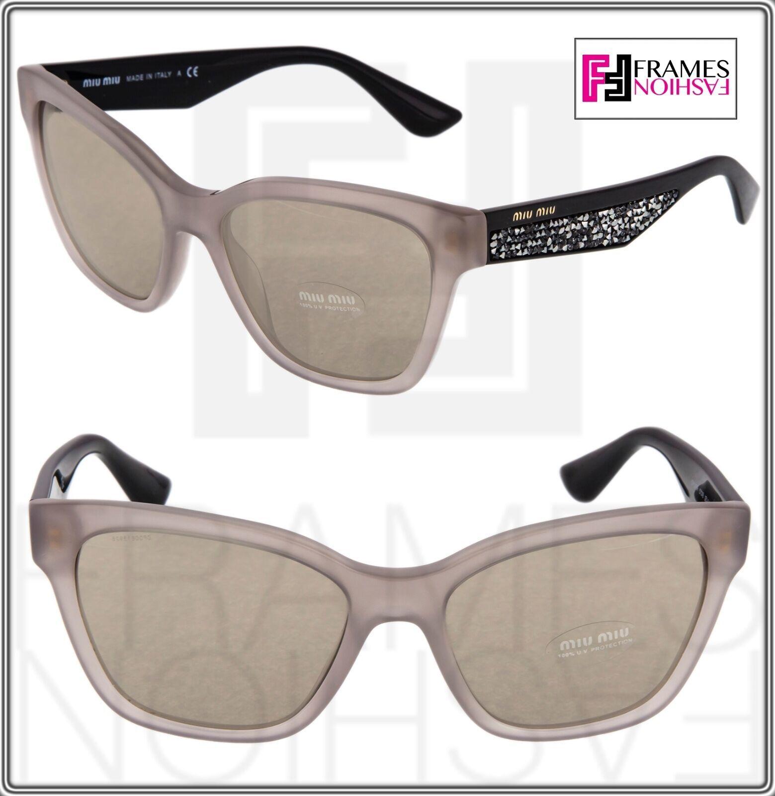 MIU MIU PAVE EVOLUTION MU 06R Square Black Rock Opal Argil Sunglasses MU06RS