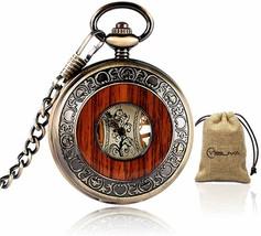 Vintage Bronze Wooden Mechanical Pocket Watch Roman Numerals Creative Ca... - $39.99