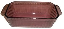 Pyrex Loaf  Cranberry Visions 213-S 1.5 Qt. Ribbed Tab Handles Ovenware - $39.59