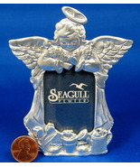 Garden Angel Pewter Photo Frame Figural Cherub Flower Pots - $12.00